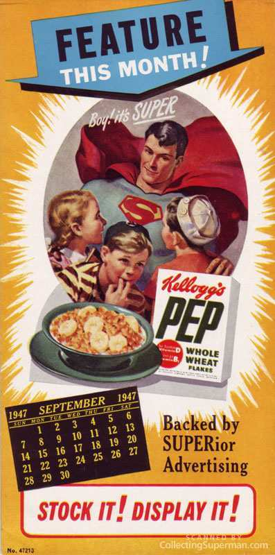pep cereal (1940s-1950s) lot includes (2) 1940s kellogg's pep cereal boxes with superman  comic strips on the back, as well as a retailer promo flyer for.