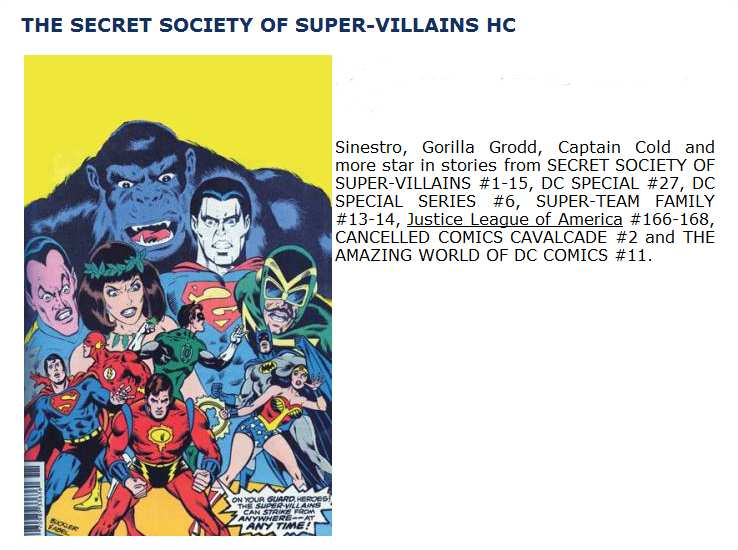 SECRET SOCIETY OF SUPER VILLANOS